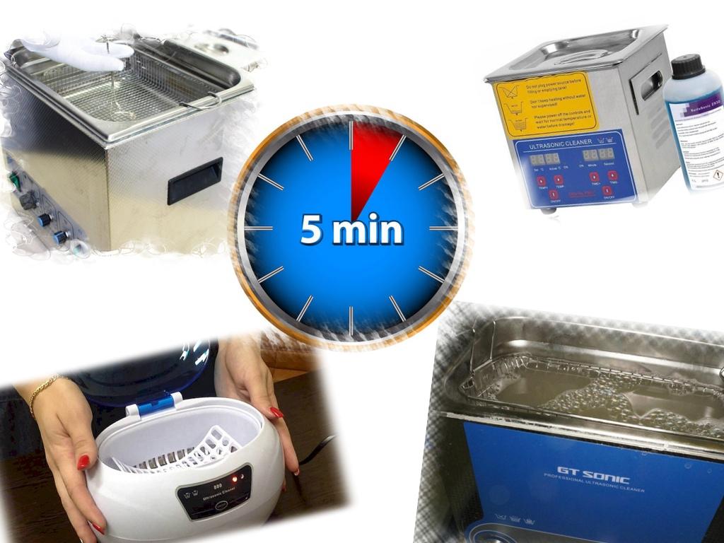 Время действия ультразвука для очистки инструмента от грязи не должно превышать 3-5 минут